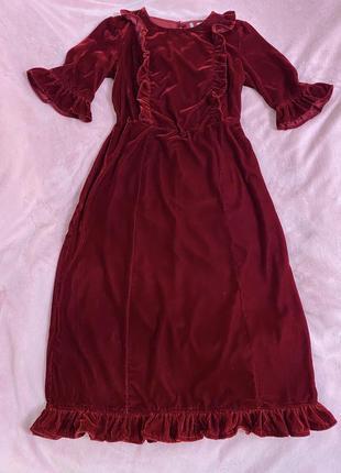 Платье бархатное миди в винтажном стиле