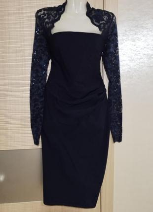 Акция 1+1=3🤑🤩 элегантное нарядное платье миди футляр с отделкой кружевом