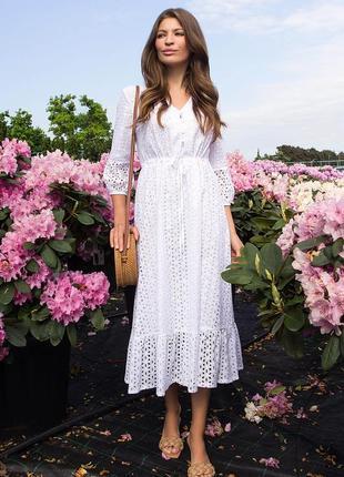 Платье севилья 3/4 белое из прошвы | 47490