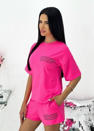 Малиновый летний женский костюм (футболка и шорты), разные цвета, розовый