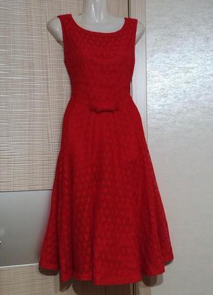 Акция 1+1=3🤑🤩 нарядное красное кружевное платье миди с пышной юбкой клёш