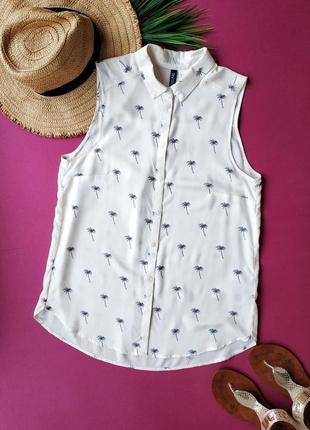 Рубашка из натуральной ткани в принт пальмы h&м.