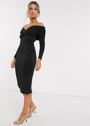 Asos асос платье чёрное шикарное миди карандаш футляр по фигуре длинный рукав открыты
