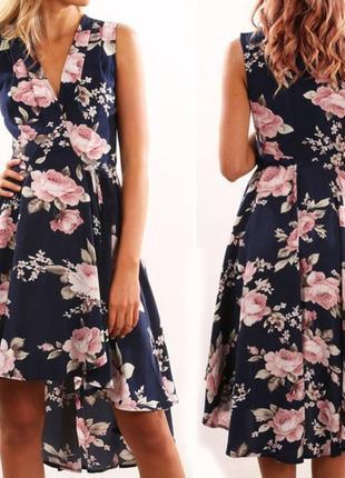 Платье сарафан на запах в цветочный принт