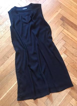 Черное ,шифоновое платье,прямое,street one