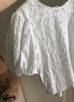 Футболка блуза из прошвы рукава фонарик