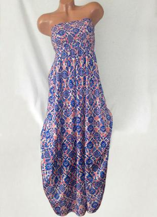 Длинное платье в пол летнее розовое макси бюстье