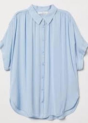 Блуза рубашка новая хлопковая приятная голубая h&m uk 10/38/s
