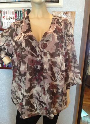 Свободная блуза на резинке бренда samoon, р.  60-62