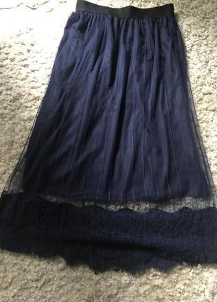 Красивая юбка темно-синяя. пояс на резинке