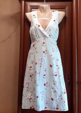 Льняное платье с цветочками вишенками лен