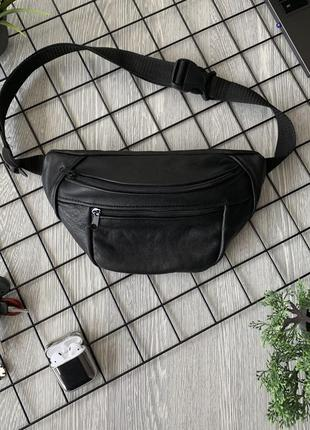 Большая бананка кожа на лето сумка на пояс из натуральной черной кожи слинг шкіра б20