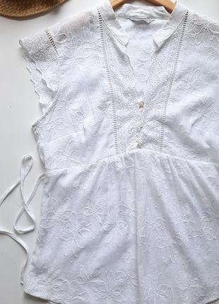 Белоснежная блуза m&s натуральная с вышивкой и прошвой хлопок