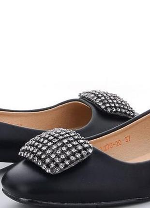 Женские шикарные туфли балетки,черные с брошкой