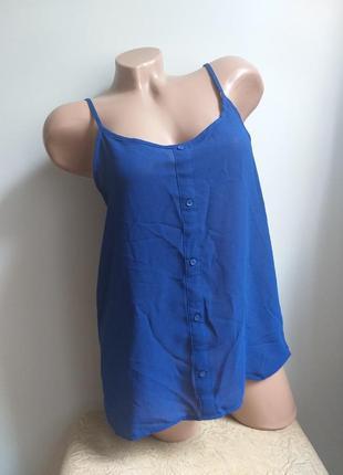 Полупрозрачный топ. майка. блуза. туника. синий.