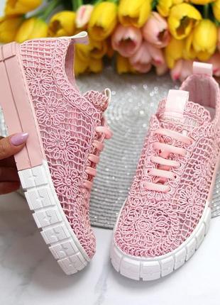 Кроссовки кеды на платформе кружевные розовые 10022