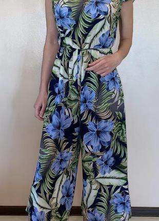 Стильный комбинезон кюлоты новая коллекция скидки модный платье сарафан цветы принт