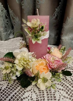 Подсвечник с цветами, декор для дома. скидка!!!