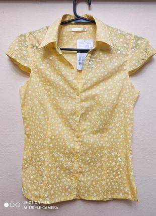Тонкая батистовая блузка короткий рукав terranova, p. m
