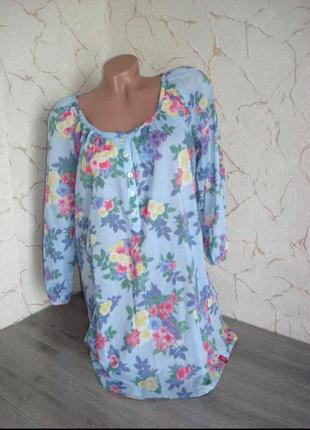 Рубашка туника сорочка батист голубая свободный крой ,размер 48