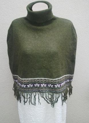Шерстяное пончо-накидка на плечи с бахромой,гольф,водолазка,свитер,шарф,vero moda