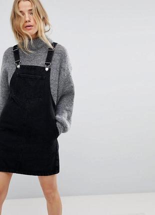 Чёрный джинсовый сарафан платье denim co джинсовый комбинезон