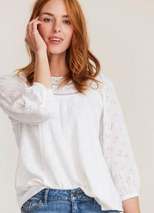 Натуральный кружевной топ блузка белая блуза с широкими рукавами