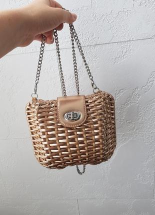 Сумочка плетенная ротанг на цепочке