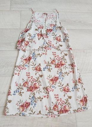 Легкое белое платье сарафан в цветочек mango
