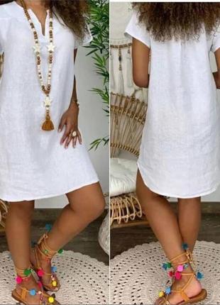 Свободное льняное платье