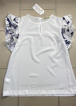 Вишукана жіноча біла блуза вільного фасону розмір  s, m, l