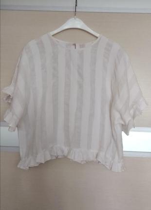 Льняная укорочення блуза.