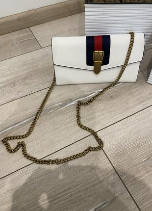 Клатч сумочка gucci white sylvie leather continental long wallet