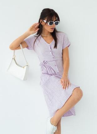Легкое летнее платье в полоску под пояс