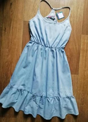 Джинсовый сарафан на брителях с рюшами, сарафан, плаття, платье, сукня