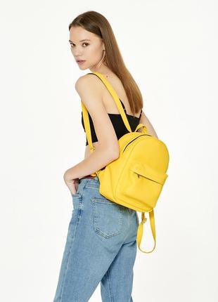 Брендовый яркий женский желтый вместительный рюкзак для прогулки