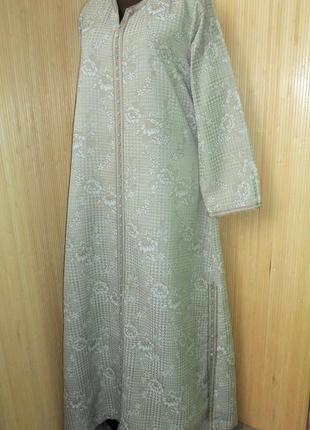 Горчичное тёплое  нарядное платье / абая в этно стиле l/xl
