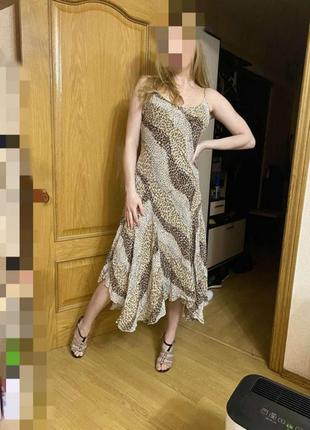 Сукня сарафан платье леопрадовый принт макси шифон