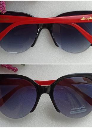 Новые стильные очки лисички, черные с красными дужками