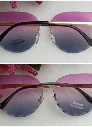 Новые красивые безоправные очки бабочки, розово-синие