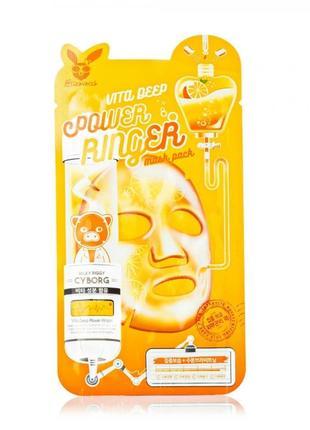 Тканевая маска для лица питательная elizavecca face care vita deep power reinger mask pack мгновенного действия, 23 мл