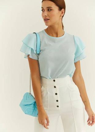 Женская светлая блузка топ голубая красивая модная