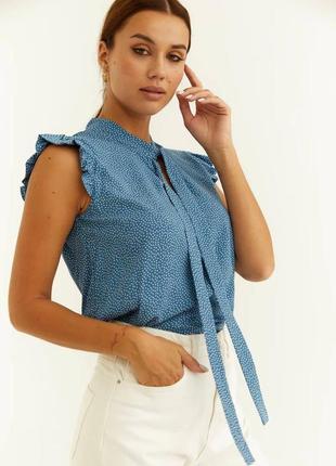 Денская голубая летняя блузка топ синяя в горошек красивая