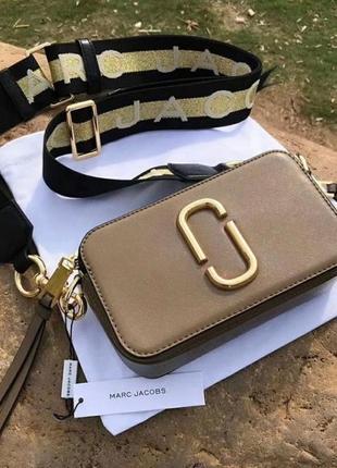 Видео! сумка на плечо натуральная кожа марк джейкобс, кросбоди длинный ремешок золото коричневый,
