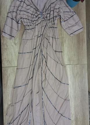 Нарядное шикарное платье для беременных с разрезом на запах вагітних блестящее с бисером пайетками блестки гипюровое