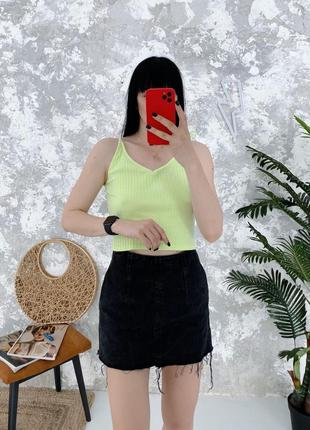 Джинсовая юбка высокая посадка база базовая в винтажном стиле topshop