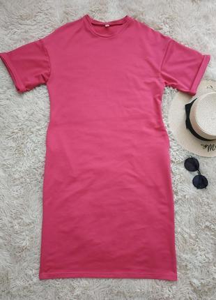 Яркое платье-футболка, платье оверсайз малинового цвета