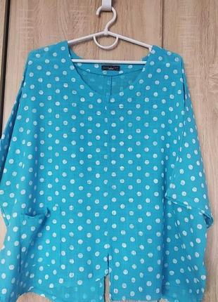 Итальянская льненая блузка блузон блузка размер 58-60