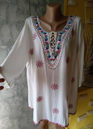 🔥красивейшая блуза туника марлевочка большой 58-62 размер
