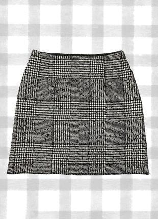 Черно-белая юбка трапеция в клетку new look (принт гусиная лапка)